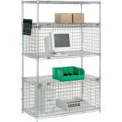 "Nexel® Chrome Wire Shelving Unit with One Enclosure - 48""W x 24""D x 74""H"