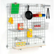 """Global Industrial™ Wire Grid Panel With Wall Mount Hook - Gray Epoxy - 48""""W x 18""""D"""