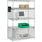 """Nexel® Chrome Wire Shelving Unit with Two Enclosures - 48""""W x 24""""D x 74""""H"""