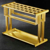 Grid Style Satin Brass Umbrella Stand for up to 24 Full & Tote Size Umbrellas