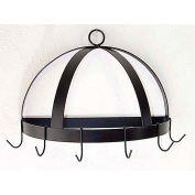 "Wall Mount Pot Rack, Half-Domed With 6 Hooks 20"" (Satin Black)"