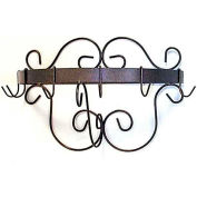 "Wall Mount Pot Rack With Curls & 6 Hooks 20"" (Aged Iron)"