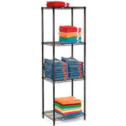 "Nexel Black Epoxy Wire Shelving, 24""W X 18""D X 74""H"
