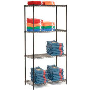 "Nexel Black Epoxy Wire Shelving, 36""W X 24""D X 74""H"