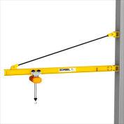 Gorbel® HD Wall Bracket Jib Crane, 12' Span & 200° Rotation, 1000 Lb capacité
