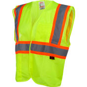 GSS Safety 1007 Standard Class 2 Two Tone Mesh Hook & Loop Safety Vest, Lime, 2XL