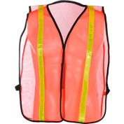 "GSS Safety 3004 Non-ANSI Economy Vest with 1""W Stripe, Orange with Yellow Stripes, One Size Fits All"