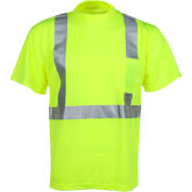 GSS Safety 5001 Class 2 Moisture Wicking Short Sleeve Safety T-Shirt with Chest Pocket, Lime, M