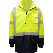 GSS Safety 6003 Class 3 Premium Hooded Rain Coat, Lime with Black Bottom, S/M