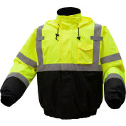 GSS Safety Hi-Visibility Class 3 Waterproof Quilt-Lined Bomber Jacket, Lime/Black, L