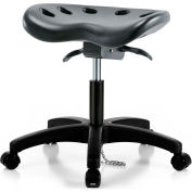 Interion® ESD Polyurethane Tractor Stool With Seat Tilt - Black w/ Black Base