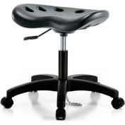 Interion® ESD Polyurethane Tractor Stool - Black w/ Black Base
