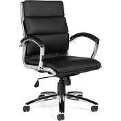 Offices To Go™ Ribbed Office Chair with Arms - Luxhide - Black