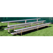 3 Row Low Rise Aluminum Bleacher, 9' Wide, Single Footboard