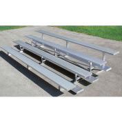 3 Row Universal Low Rise Aluminum Bleacher, 15' Long, Single Footboard
