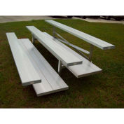 3 Row Universal Low Rise Tip and Roll Aluminum Bleacher, 21' Wide, Double Footboard