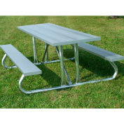 6' Picnic Table with Anodized Aluminum Planking and Heavy Duty Galvanized Steel Frame