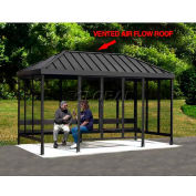 """Smoking Shelter 6-3WSVR-CA, 4-Sided, L & R Open FR, 15'L x 7'6""""W, Vented Standing Seam Roof, Clear"""