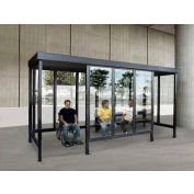 """Smoking Shelter S6-3F-CA, 4-Sided W/Left Open Front, 15'L X 7'6""""W, Flat Roof, Clear"""
