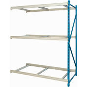 "Hallowell Bulk Rack 48""W x 24""D x 123""H Blue Uprights/Platinum Beams 3 Level Add-on Unit-No Deck"