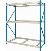"Hallowell Bulk Rack 48""W x 24""D x 123""H Blue Uprights/Platinum Beams 3 Level Starter Unit-No Deck"
