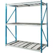 "Hallowell Bulk Rack 48""W x 48""D x 123""H Blue Uprights/Platinum Beams 3 Level Starter Unit-Wire Deck"
