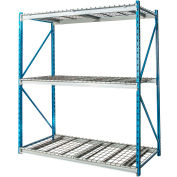 "Hallowell Bulk Rack 60""W x 36""D x 87""H Blue Uprights/Platinum Beams 3 Level Starter Unit-Wire Deck"