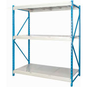 "Hallowell Bulk Rack 60""W x 48""D x 87""H Blue Uprights/Platinum Beams 3 Level Starter Unit-Steel Deck"