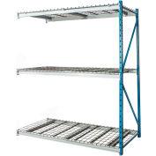 "Hallowell Bulk Rack 96""W x 24""D x 123""H Blue Uprights/Platinum Beams 3 Level Add-on Unit-Wire Deck"