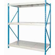 "Hallowell Bulk Rack 96""W x 24""D x 123""H Blue Uprights/Platinum Beams 3 Level Starter Unit-Steel Deck"