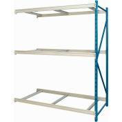 "Hallowell Bulk Rack 96""W x 36""D x 87""H Blue Uprights/Platinum Beams 3 Level Add-on Unit-No Deck"
