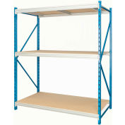 "Hallowell Bulk Rack 96""W x 36""D x 87""H Blue Uprights/Platinum Beams 3 Level Starter Unit-Wood Deck"