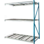 "Hallowell Bulk Rack 96""W x 48""D x 123""H Blue Uprights/Platinum Beams 3 Level Add-on Unit-Wire Deck"