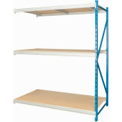 "Hallowell Bulk Rack 96""W x 48""D x 87""H Blue Uprights/Platinum Beams 3 Level Add-on Unit-Wood Deck"