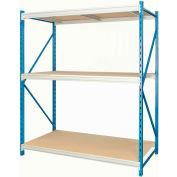 "Hallowell Bulk Rack 96""W x 48""D x 87""H Blue Uprights/Platinum Beams 3 Level Starter Unit-Wood Deck"