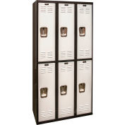 Hallowell U3282-2MP Black Tie Locker Double Tier 12x18x36 6 Doors Unassembled, Black/Light Grey