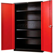 "Hallowell FK4SC6478-4BR-HT Fort Knox Cabinet, 36""W x 24""D x 78""H, Black Body, Red Doors"