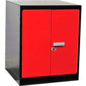 """Fort Knox Workbench Pedestal- Doors,18""""x24""""x 32"""", Black Body, Red Doors, 1-Wide"""