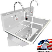 """Stainless Steel Sink, 2 Stations w/Electronic Faucets, Wall Mounted 36"""" L X 20"""" W X 8"""" D"""