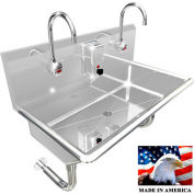 """Stainless Steel Sink, 2 Stations w/Electronic Faucets, Round Tube Wall Mounted 36"""" L X 20"""" W X 8"""" D"""