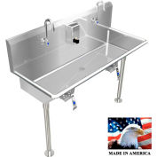 """Stainless Steel Sink, 2 Stations w/Knee Operated Faucets, Straight Legs 40"""" L X 20"""" W X 8"""" D"""