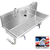 """Stainless Steel Sink, 2 Stations w/Knee Operate Faucets Round Brackets 40"""" L X 20"""" W X 8"""" D"""