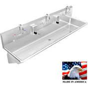 """Stainless Steel Sink, 3 Station w/Manual Faucets, Wall Brackets 60""""L X 20""""W X 8""""D"""