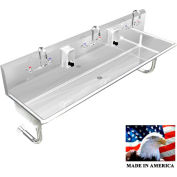"""Stainless Steel Sink, 3 Station w/Manual Faucets, Round Legs 60""""L X 20""""W X 8""""D"""