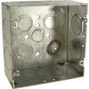 """Boîte carrée de Hubbell 258 4-11/16"""", 2-1/8» 1 profonde,» côté Knockous, soudée, qté par paquet : 25"""