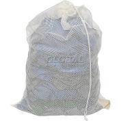 Sac de style filet avec cordon de serrage,18 x 30, blanc, poids moyen, qté par paquet : 12