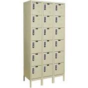 Hallowell UEL3288-6A-PT Assembled Electronic Access Locker Six Tier 3 Wide 12x18x13 - Tan