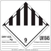 LabelMaster® UN1845 Étiquettes de glace sèche, 6» x 6», Blanc/Noir, 500 Étiquettes