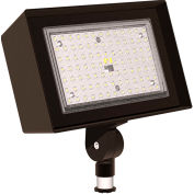 Hubbell Outdoor Ratio Dusk-to-Dawn LED Floodlight, 6800L, 52W, 50K, Wide Dist, Knuckle Mt, 120-277v