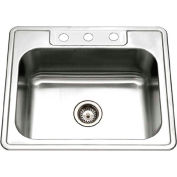 Houzer 2522-8BS3-1 Drop In Stainless Steel 3-Hole Single Bowl Kitchen Sink